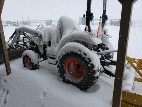 Tractor parked and ready for work
